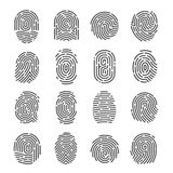 Fingerprint icon set. Impression, mark used for identifying individuals, unique pattern of lines for biometric identification in criminal investigation. Vector Stock Photo