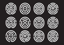 Fingerprint icon set. Information and identification fingerprint icon set on black background Royalty Free Stock Photos