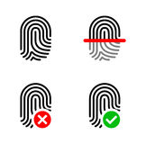 Fingerprint Icon set. Vector Set of Fingerprint icons  in dark background Stock Images