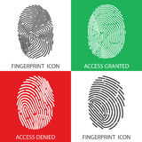 Fingerprint icon set. Vector illustrations. Fingerprint icon set. Concept of 'access denied' and 'granted access'. Vector illustrations. Fingerprint Stock Photography