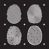 Fingerprint icon set. White fingerprint on black background. Fingerprint identification. Fingerprint biometrics. Unlock with fingerprint. Security system Royalty Free Stock Photos