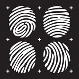 Fingerprint icon set. White fingerprint icon set. Fingerprint isolated on black background. Elements of fingerprint identification systems, security conception Royalty Free Stock Photography