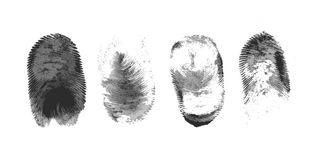 Fingerprint icon silhouette on white background. Fingerprint icon set, vector hand drawn ink design. Police collection Stock Photography
