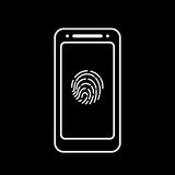 Fingerprint icon with smartphone  isolated sign symbol Stock Photography
