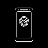 Fingerprint icon with smartphone  isolated sign symbol Royalty Free Stock Photos