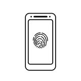 Fingerprint icon with smartphone  isolated sign symbol Stock Photos