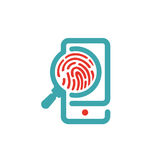 Fingerprint icon on smartphone screen vector illustration. Royalty Free Stock Photography