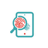 Fingerprint icon on tablet screen vector illustration. Stock Photo