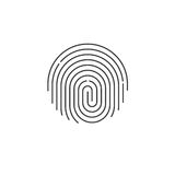 Fingerprint icon vector, round shaped finger print isolated Stock Photo
