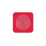 Fingerprint icon vector, round shaped finger print on red button Royalty Free Stock Photo