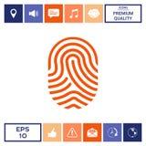 fingerprint Icona esplorata del dito Immagine Stock Libera da Diritti