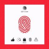 fingerprint Icona esplorata del dito Fotografie Stock Libere da Diritti