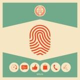 fingerprint Icona esplorata del dito Fotografia Stock