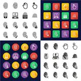 Fingerprint Icons All in One Icons Black & White Color Flat Design Freehand Set. This image is a vector illustration and can be scaled to any size without loss Stock Images