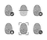 Fingerprint icons. Authorization, identification symbol. Security and surveillance system. Set fingerprint icons isolated on white background. Authorization and Stock Photo