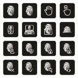 Fingerprint Icons Freehand White On Black. This image is a vector illustration and can be scaled to any size without loss of resolution Royalty Free Stock Photos
