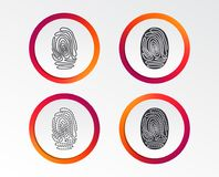 Fingerprint icons. Identification signs. Fingerprint icons. Identification or authentication symbols. Biometric human dabs signs. Infographic design buttons Stock Photos