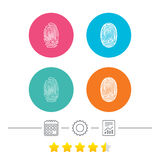 Fingerprint icons. Identification signs. Royalty Free Stock Image