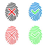 Fingerprint icons set. Fingerprint icons with check marks. Two color variations, approved and denied. Isolated, vector, eps 10 Royalty Free Stock Photography