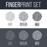 Fingerprint. Icons Set, Future Identification Authorization System on Dark and White Background Stock Image