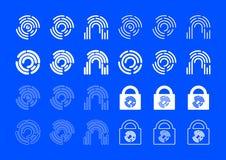 Fingerprint Icons. Fingerprint technology icons set for your apps Stock Photo