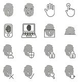 Fingerprint Icons Thin Line Vector Illustration Set. This image is a vector illustration and can be scaled to any size without loss of resolution Stock Photos