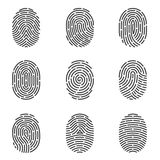 Fingerprint icons vector set. Nine grey fingerprint types detailed vector set Royalty Free Stock Images