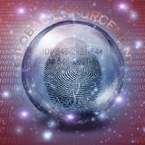 Global Enforcement. Fingerprint ID inside crystal ball. Global Enforcement stock illustration