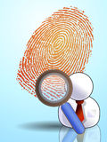 Fingerprint id search. Very detailed Fingerprint behind man search icon Stock Images
