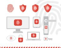 Fingerprint ID security objects vector illustration collection. Tech personal safety elements Stock Photos
