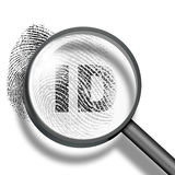Fingerprint identification concept. Fingerprint ID through magnifying glass Royalty Free Stock Photos