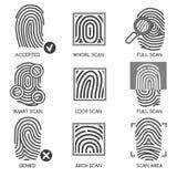 Fingerprint identification icons. Fingerprint pass icons or thumbprint identification icons. Vector illustration Stock Photos