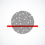 Fingerprint identification system, black symbol. With red strip  on white background, vector illustration Royalty Free Stock Photos