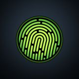 Fingerprint identification system, with green. Transparency light, vector background illustration Stock Photos