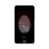 Fingerprint identification system. Fingerprint identification system on smartphone. Smartphone security. Security technology for smartphone. Vector illustration Stock Photo