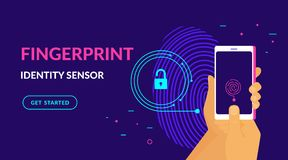 Fingerprint identity sensor flat vector neon website template and landing page design. Of digital fingerprint identification on smartphone. Human hand holds Royalty Free Stock Image