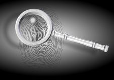 Fingerprint. An illustration of a fingerprint and a magnifying glass Royalty Free Stock Photos