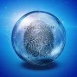Fingerprint. Inside of glass bottle Stock Photography