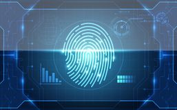Fingerprint integrated in a printed circuit, releasing binary codes. finger print Scanning Identification System. Biometric Author. Ization and Business Security Royalty Free Stock Image