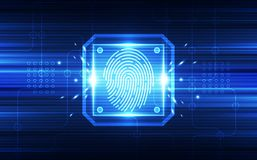 Fingerprint integrated in a printed circuit, releasing binary codes. finger print Scanning Identification System. Biometric Author. Ization and Business Security Stock Images