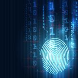 Fingerprint integrated in a printed circuit, releasing binary codes. finger print Scanning Identification System. Biometric Author. Ization and Business Security Stock Photo