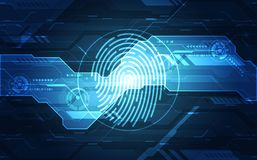 Fingerprint integrated in a printed circuit, releasing binary codes. fingerprint Scanning Identification System Security Concept. Vector illustration Stock Photos