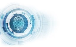 Fingerprint integrated in a printed circuit, releasing binary codes. fingerprint Scanning Identification System Security Concept. royalty free illustration