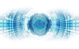 Fingerprint integrated in a printed circuit, releasing binary codes. fingerprint Scanning Identification System. Biometric Authori. Zation and Business Security Stock Photos