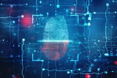 Security concept: fingerprint Scanning on digital screen. 2d illustration. Fingerprint integrated in a printed circuit, fingerprint Scanning Identification stock photography