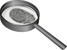 Fingerprint. Isolated magnifying glass and fingerprint Royalty Free Stock Images