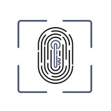 Fingerprint with key pattern inside Stock Image