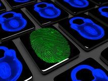 Fingerprint on the keypad is locked 3d render Stock Photography