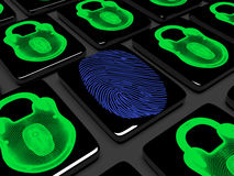 Fingerprint on the keypad is locked 3d render. Virtual lock to lock the keypad, information security concept Royalty Free Stock Photo
