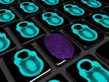 Fingerprint on the keypad is locked 3d render. Virtual lock to lock the keypad, information security concept Stock Image